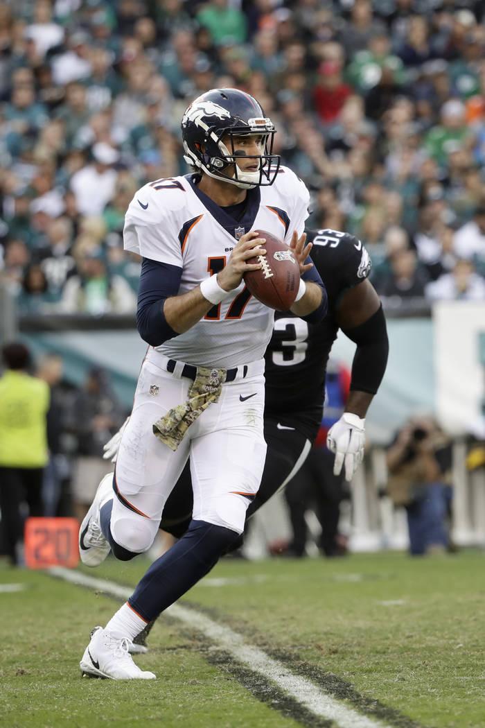 Denver Broncos' Brock Osweiler (17) in action during an NFL football game against the Philadelphia Eagles, Sunday, Nov. 5, 2017, in Philadelphia. (AP Photo/Matt Rourke)