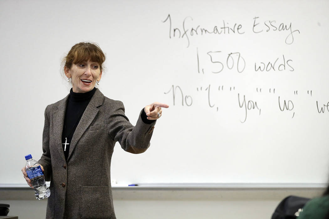 Ellen Tara James-Penney, a lecturer at San Jose State University, speaks to her English class on the university's campus in San Jose, Calif., last month. (AP Photo/Marcio Jose Sanchez)