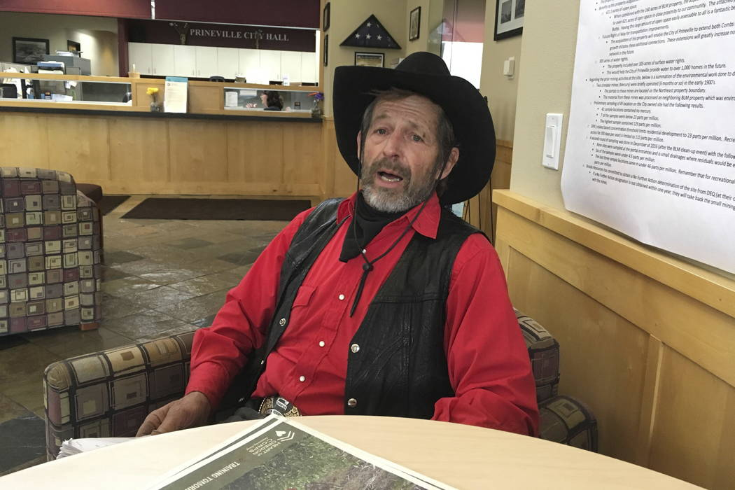 Pete Sharp, a member of the Central Oregon Patriots and of the political action committee that drafted a land-use plan adopted by the Crook County commissioners, speaks after the commission meetin ...