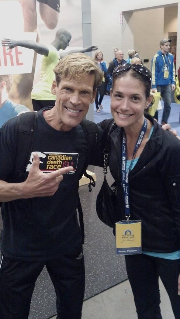Dean Karnazes  and Julie Bertoia at the Boston Marathon Expo 4/14/13 (the day before the bombings) (picture was taken by Chris Sheldrick)