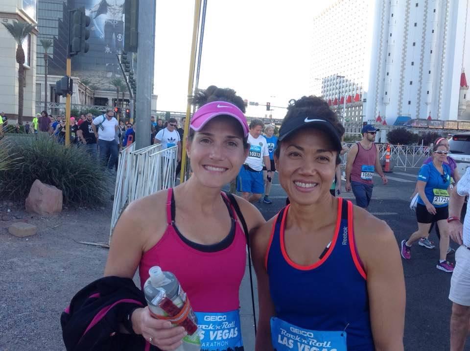 Julie Bertoia & Michelle Chewjalearn at the 2016 Rock 'n' Roll Las Vegas Marathon start line (picture was taken by Mara Bertoia)