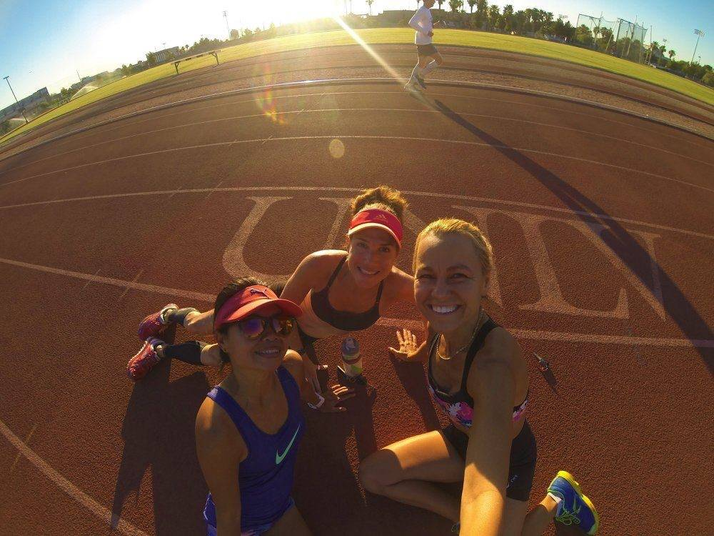 Las Vegas Runners Track Workout at UNLV 2017 (L-R, Ana Brooke, Julie Bertoia, Natalia Murua) (picture taken by Natalia Murua)