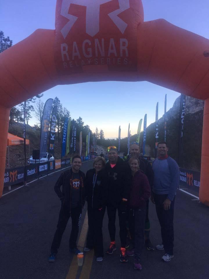 From left to right, Cameron Robinson, Esther Reincke, Steve Reincke, Melanie Bangle, Dan Dennon and Scott Carter at the start of the Ragnar Relay on Nov. 6, 2016 in Las Vegas. Photo courtesy Esthe ...