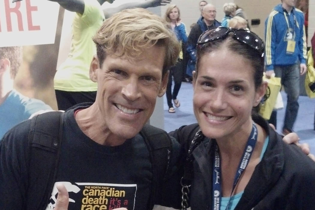 Dean Karnazes  and Julie Bertoia at the Boston Marathon Expo on April 14, 2013, the the day before the bombings.  (picture was taken by Chris Sheldrick)