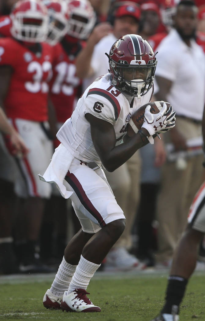South Carolina wide receiver Shi Smith (13) is shown against Georgia during the second half of an NCAA college football game Saturday, Nov. 4, 2017, in Athens, Ga. Georgia won 24-10. (AP Photo/Joh ...