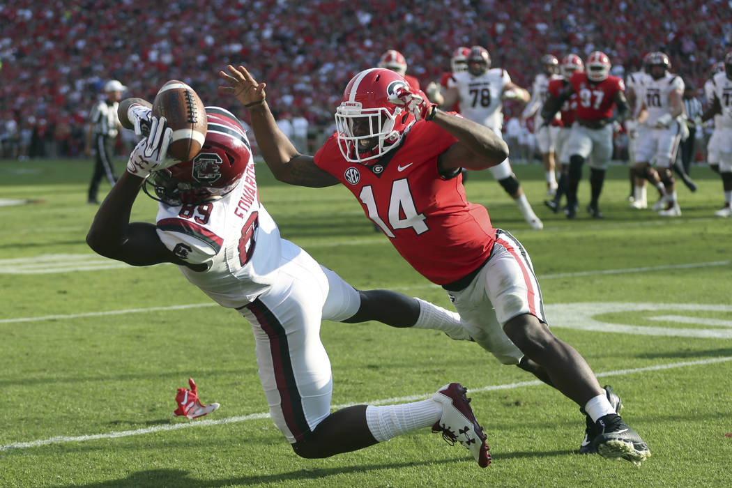 South Carolina wide receiver Bryan Edwards (89) catches a pass for a touchdown as Georgia defensive back Malkom Parrish (14) defends during the first half of an NCAA college football game Saturday ...