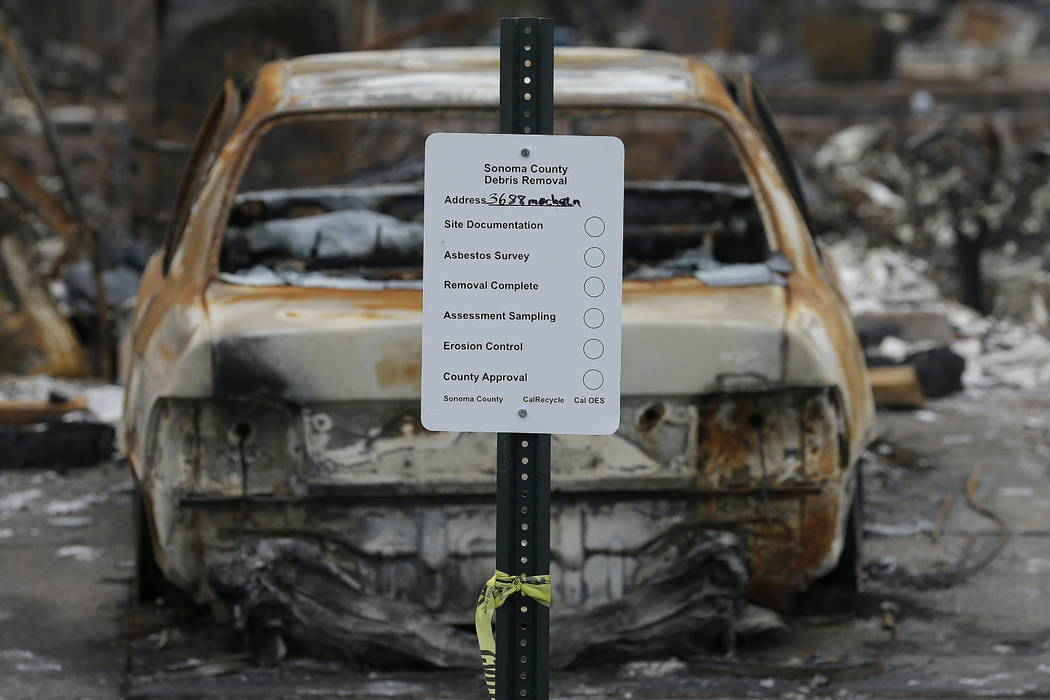 A sign is posted in front of a destroyed by fires scheduled to have debris removed in the Coffey Park area of Santa Rosa, Calif., Wednesday, Nov. 8, 2017. (AP Photo/Jeff Chiu)