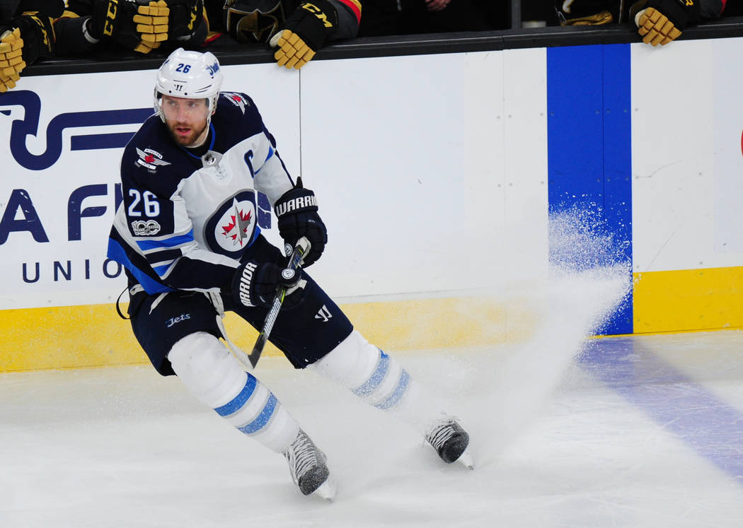Winnipeg Jets forward Blake Wheeler stops against the Vegas Golden Knights during the third period of their NHL hockey game at T-Mobile Arena in Las Vegas Friday November 10, 2017. Josh Holmberg/L ...