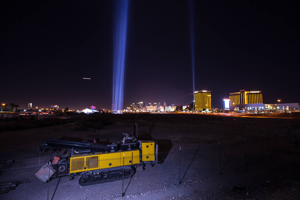 Lights are lit up at the construction site of the Raiders stadium in Las Vegas, Monday, Nov. 13, 2017. Joel Angel Juarez Las Vegas Review-Journal @jajuarezphoto