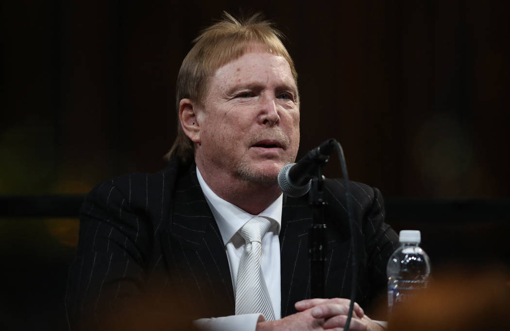 Oakland Raiders owner Mark Davis answers reporters questions during a news conference at the team's groundbreaking ceremony in Las Vegas, Monday, Nov. 13, 2017. Heidi Fang Las Vegas Review-Journal ...