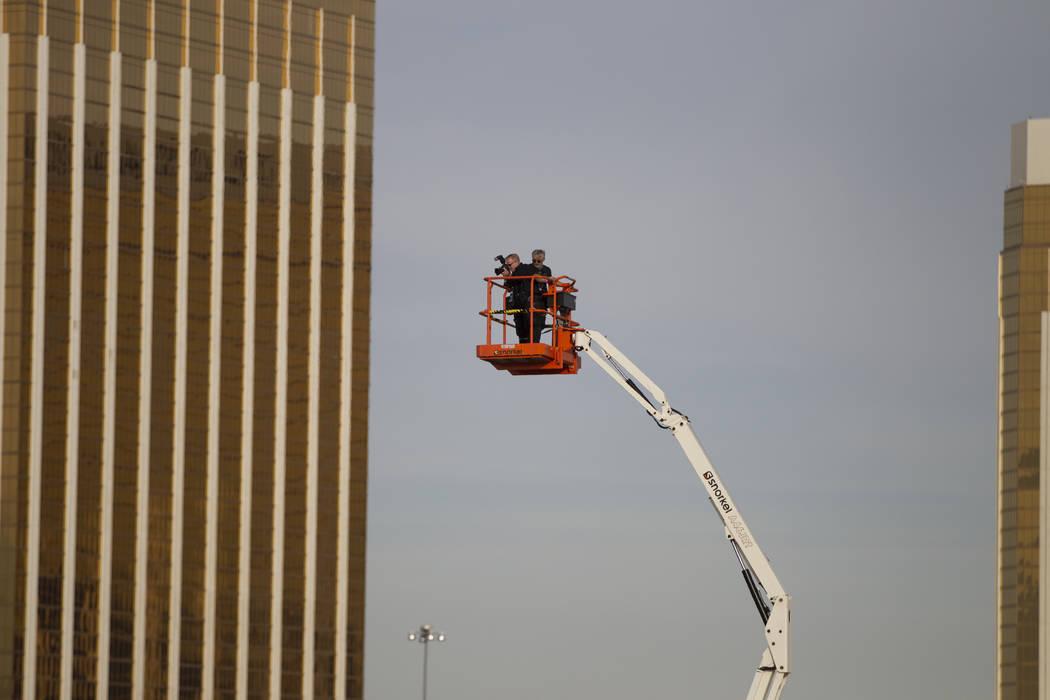 Crews photograph the Raiders groundbreaking site in Las Vegas, Monday, Nov. 13, 2017. Erik Verduzco Las Vegas Review-Journal @Erik_Verduzco