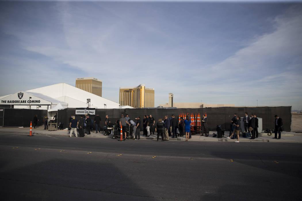 Members of the news media line up for the Raiders groundbreaking event in Las Vegas, Monday, Nov. 13, 2017. Erik Verduzco Las Vegas Review-Journal @Erik_Verduzco