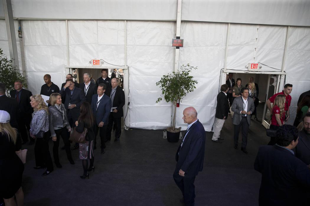 Attendees during the Raiders groundbreaking event in Las Vegas, Monday, Nov. 13, 2017. Erik Verduzco Las Vegas Review-Journal @Erik_Verduzco