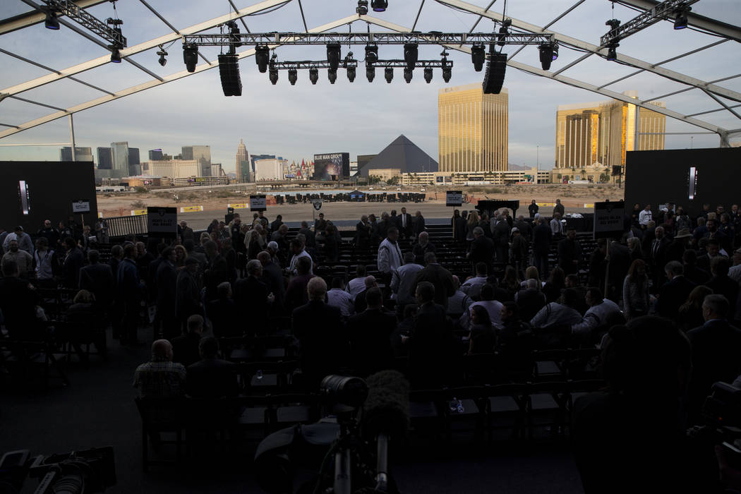 The site of the future Raiders stadium during the groundbreaking event in Las Vegas, Monday, Nov. 13, 2017. Erik Verduzco Las Vegas Review-Journal @Erik_Verduzco
