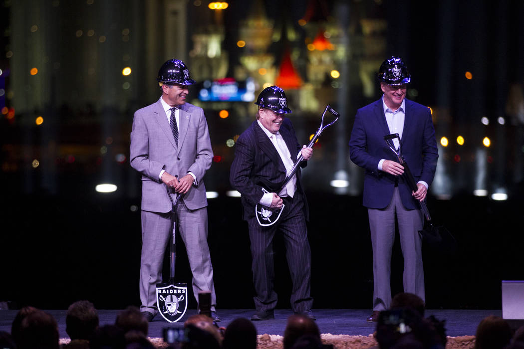 Gov. Brian Sandoval, from left, Raiders owner Mark Davis, and NFL Commissioner Roger Goodell during the Raiders stadium groundbreaking ceremony in Las Vegas, Monday, Nov. 13, 2017. Erik Verduzco L ...