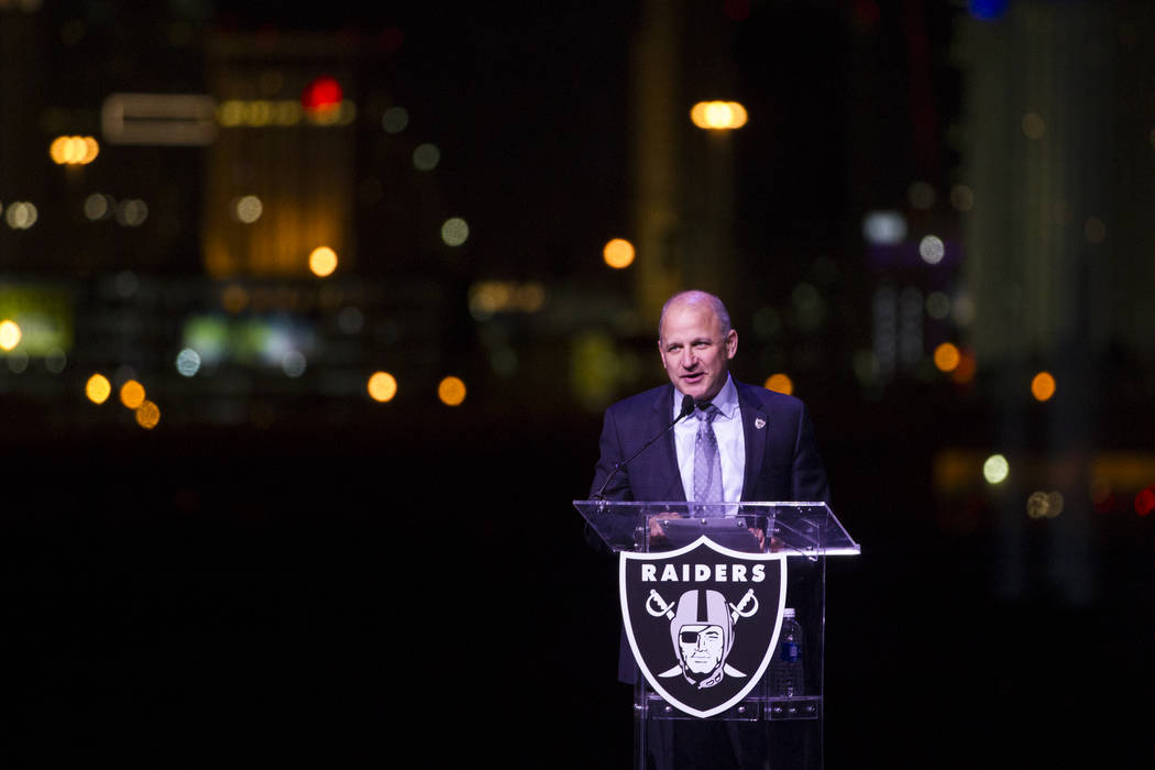 Raiders President Marc Badain during the  Raiders stadium groundbreaking ceremony in Las Vegas, Monday, Nov. 13, 2017. Erik Verduzco Las Vegas Review-Journal @Erik_Verduzco