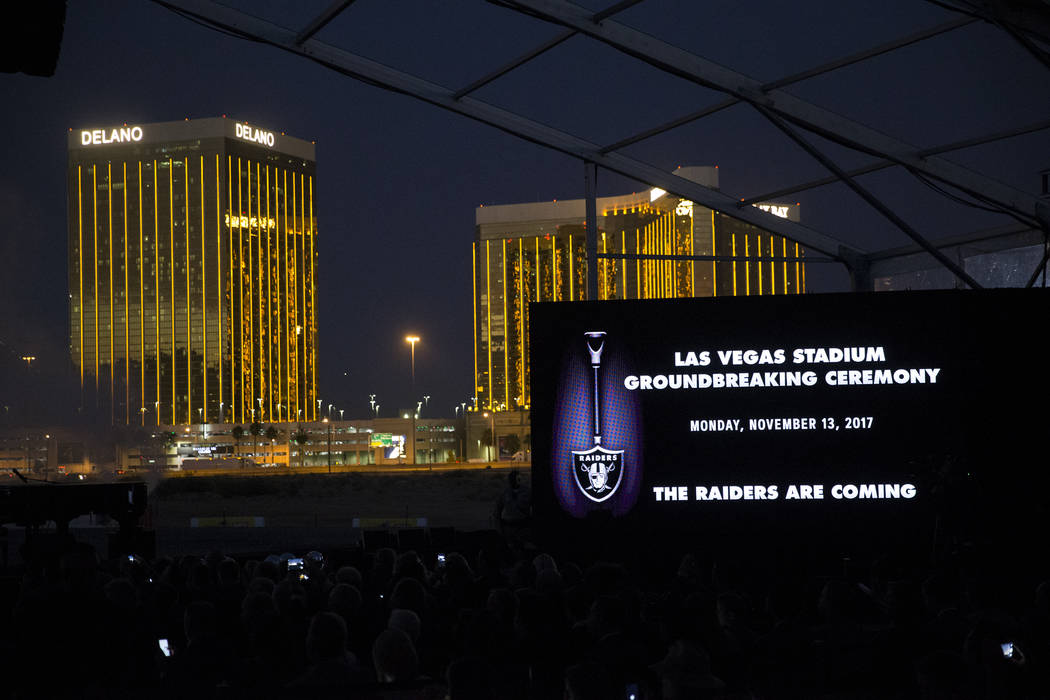 The site of the future Raiders stadium during the groundbreaking ceremony in Las Vegas, Monday, Nov. 13, 2017. Erik Verduzco Las Vegas Review-Journal @Erik_Verduzco