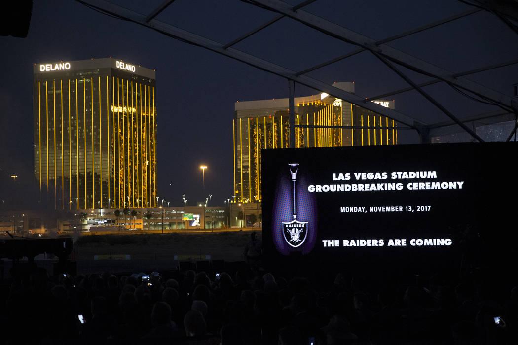 The site of the future Raiders stadium during the groundbreaking ceremony in Las Vegas, Monday, Nov. 13, 2017. Erik Verduzco Las Vegas Review-Journal @Erik_Verduzco