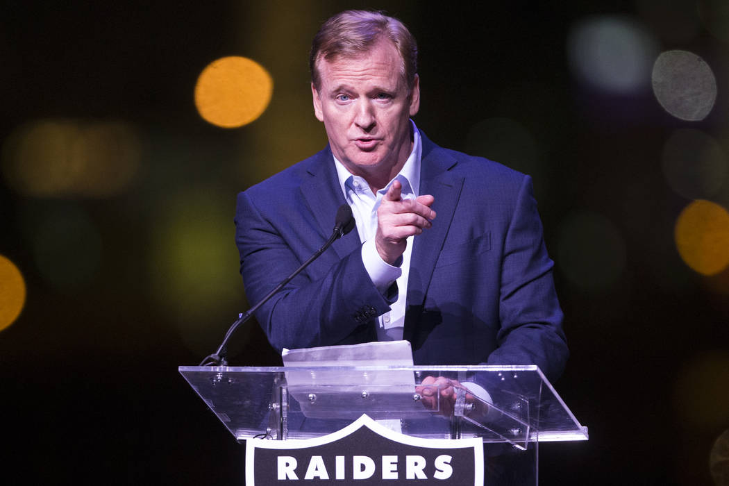 NFL Commissioner Roger Goodell during the Raiders stadium groundbreaking ceremony in Las Vegas, Monday, Nov. 13, 2017. Erik Verduzco Las Vegas Review-Journal @Erik_Verduzco