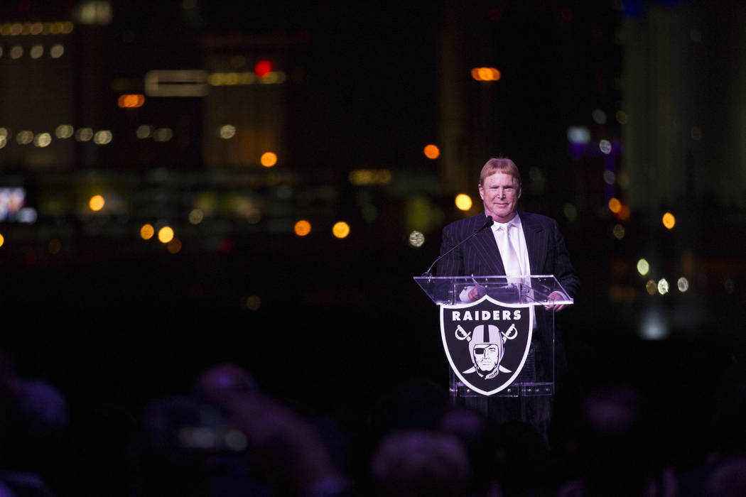 Raiders owner Mark Davis during the Raiders stadium groundbreaking ceremony in Las Vegas, Monday, Nov. 13, 2017. Erik Verduzco Las Vegas Review-Journal @Erik_Verduzco