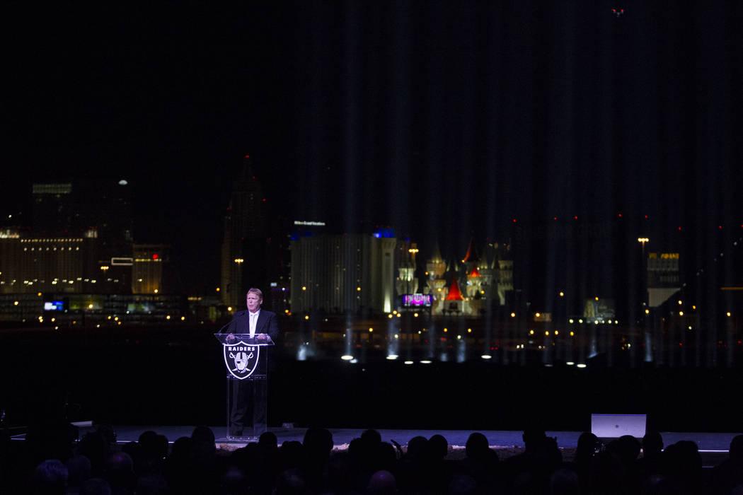 Raiders Owner Mark Davis during the Raiders stadium groundbreaking ceremony in Las Vegas, Monday, Nov. 13, 2017. Erik Verduzco Las Vegas Review-Journal @Erik_Verduzco
