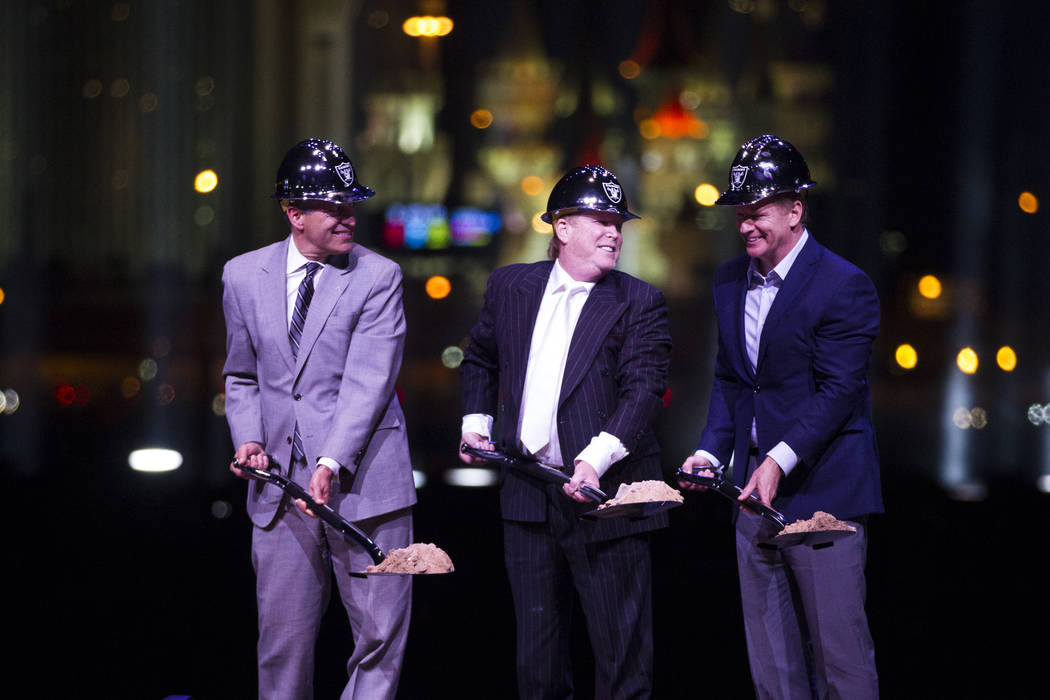 Gov. Brian Sandoval, from left, Raiders owner Mark Davis, and NFL Commissioner Roger Goodell, during the Raiders stadium groundbreaking ceremony in Las Vegas, Monday, Nov. 13, 2017. Erik Verduzco  ...