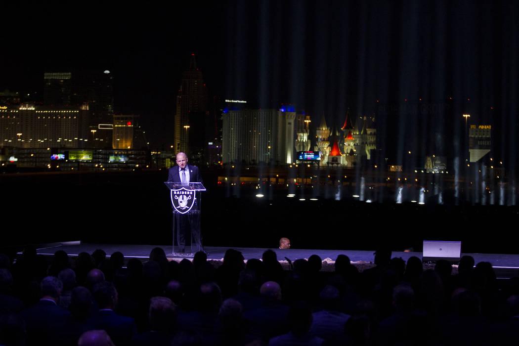 Raiders President Marc Badain during the Raiders stadium groundbreaking ceremony in Las Vegas, Monday, Nov. 13, 2017. Erik Verduzco Las Vegas Review-Journal @Erik_Verduzco