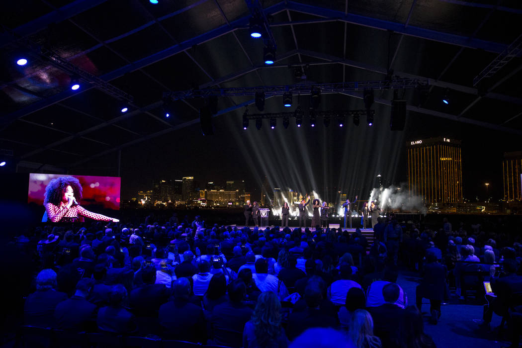 A band performs during the Raiders stadium groundbreaking ceremony in Las Vegas, Monday, Nov. 13, 2017. Erik Verduzco Las Vegas Review-Journal @Erik_Verduzco