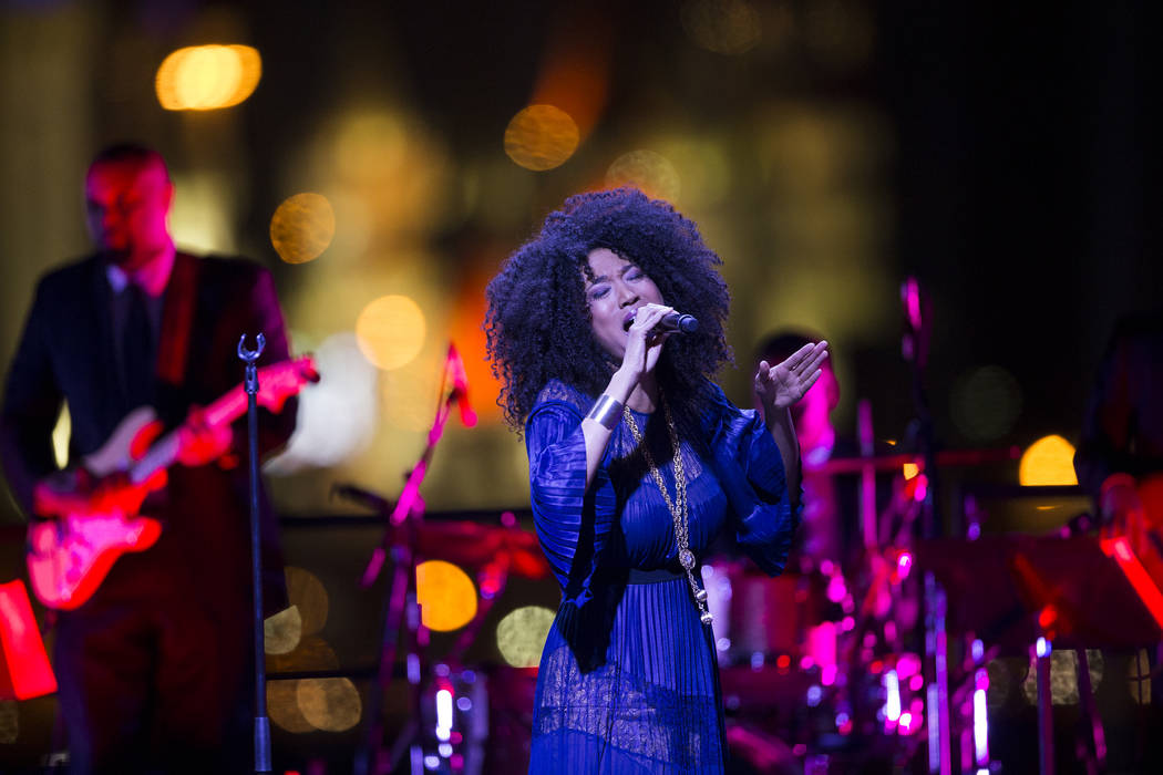 Judith Hill performs during the Raiders stadium groundbreaking ceremony in Las Vegas, Monday, Nov. 13, 2017. Erik Verduzco Las Vegas Review-Journal @Erik_Verduzco