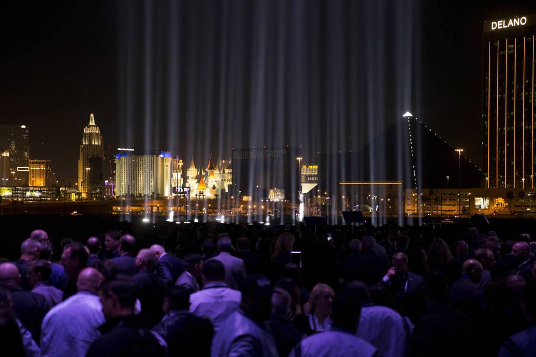 A light for each person who died in the mass shooting illuminates the sky during the Raiders stadium groundbreaking ceremony in Las Vegas, Monday, Nov. 13, 2017. Erik Verduzco Las Vegas Review-Jou ...