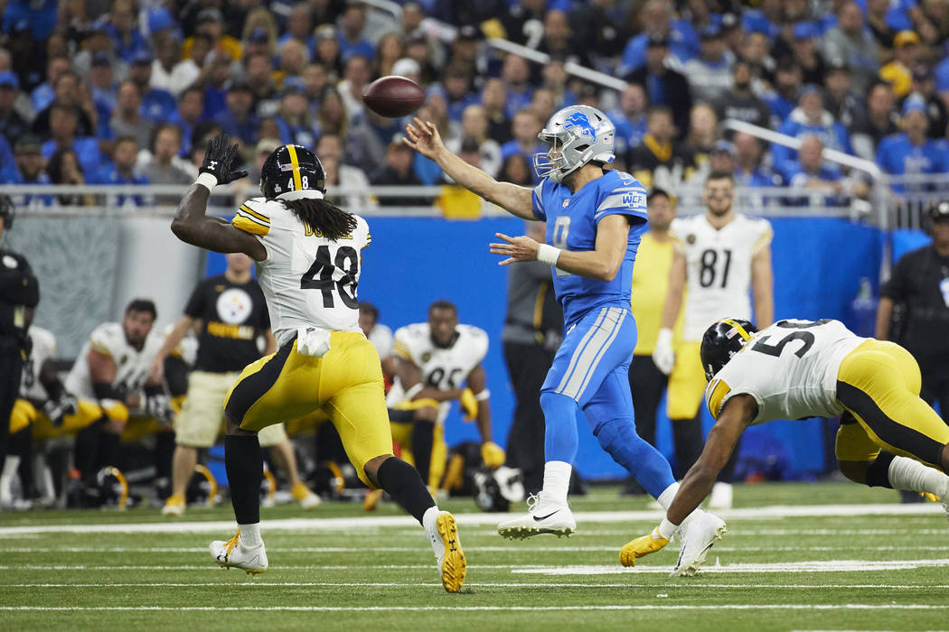 Detroit Lions quarterback Matthew Stafford (9) passes against the Pittsburgh Steelers during an NFL football game Sunday, Oct. 29, 2017, in Detroit. (AP Photo/Rick Osentoski)