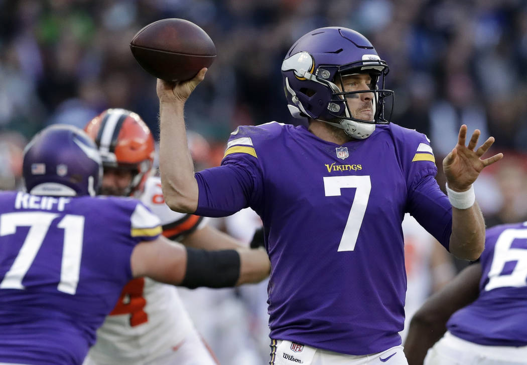 Minnesota Vikings quarterback Case Keenum (7) passes the ball during the first half of an NFL football game against Cleveland Browns at Twickenham Stadium in London, Sunday Oct. 29, 2017. (AP Phot ...