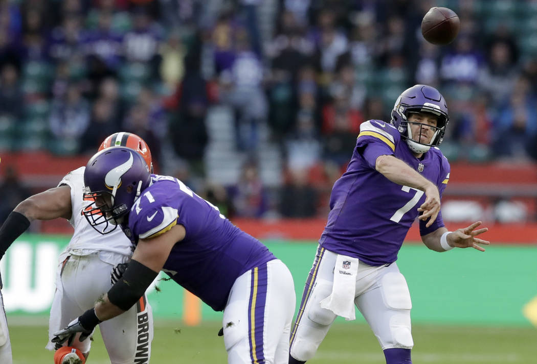 Minnesota Vikings quarterback Case Keenum (7) passes the ball during the second half of an NFL football game against Cleveland Browns at Twickenham Stadium in London, Sunday Oct. 29, 2017. (AP Pho ...