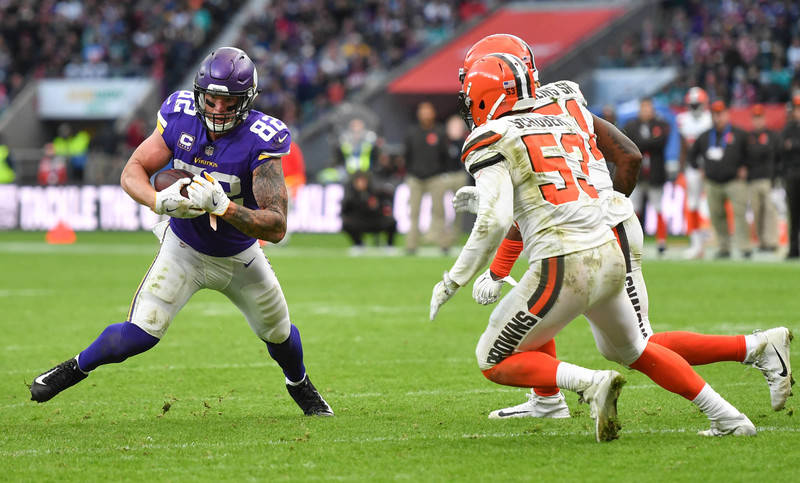Oct 29, 2017; London, United Kingdom; Minnesota Vikings tight end Kyle Rudolph (82) takes a catch during the second half during the NFL International Series game between the Minnesota Vikings and  ...