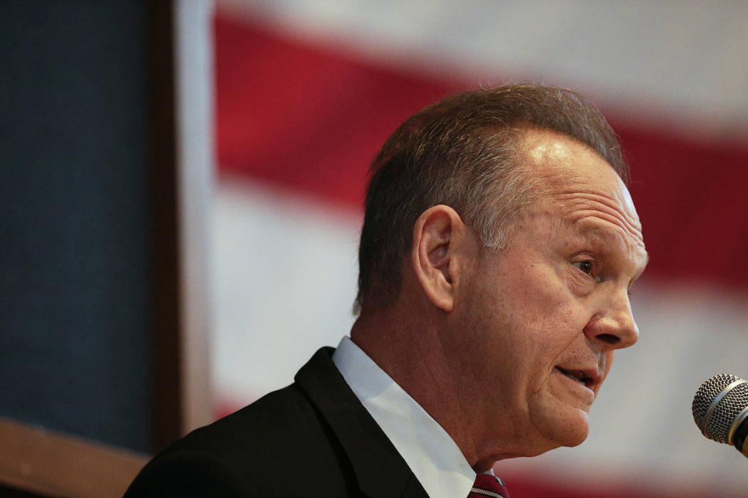 Former Alabama Chief Justice and U.S. Senate candidate Roy Moore speaks in Montgomery, Ala., in September.  (AP Photo/Brynn Anderson, File)