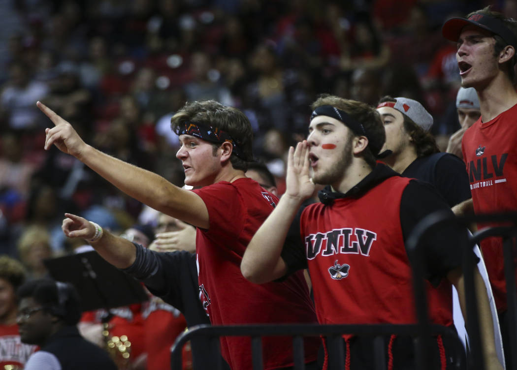 UNLV fans cheer as their team plays Florida A&M in a basketball game at the Thomas & Mack Center in Las Vegas on Saturday, Nov. 11, 2017. Chase Stevens Las Vegas Review-Journal @csstevensphoto