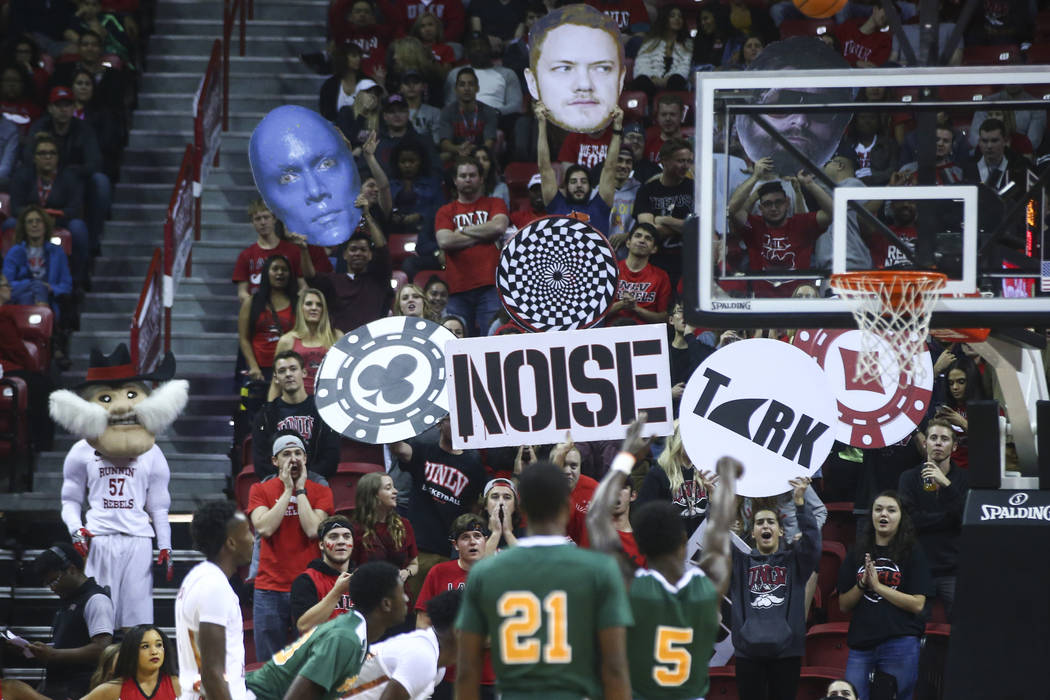 UNLV fans try to distract Florida A&M players during their basketball game at the Thomas & Mack Center in Las Vegas on Saturday, Nov. 11, 2017. Chase Stevens Las Vegas Review-Journal @csst ...
