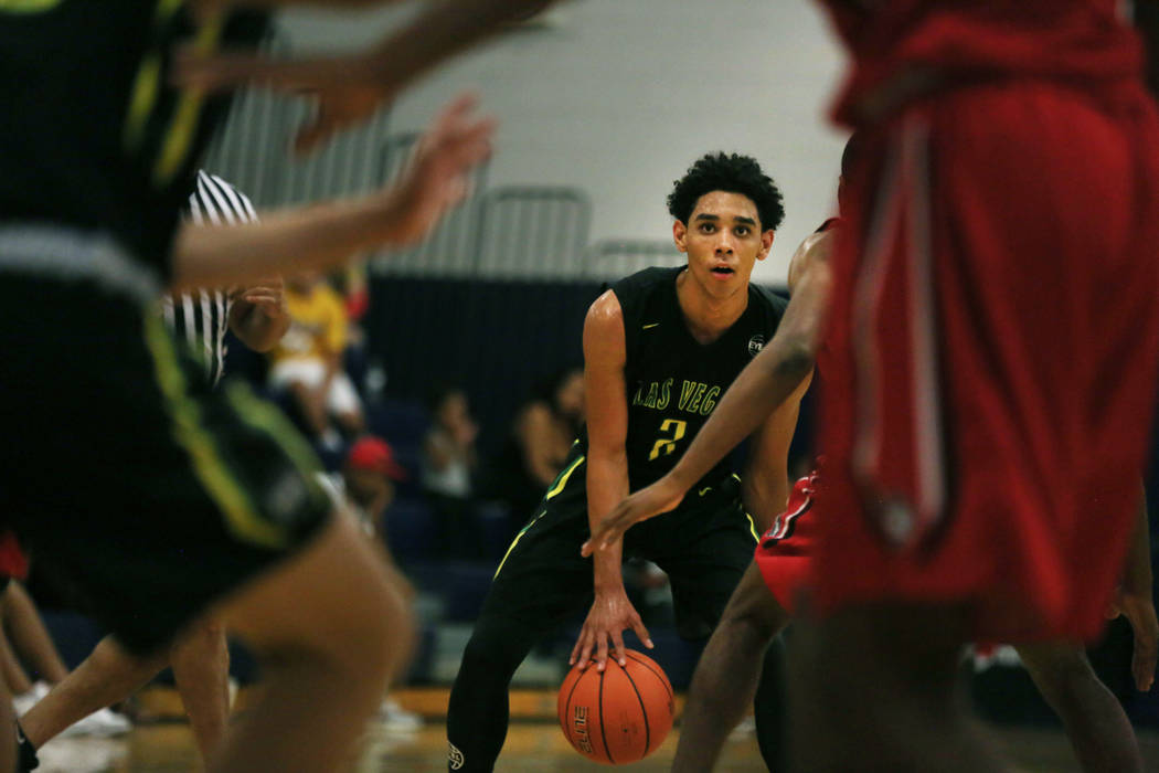 Las Vegas Prospects' Marvin Coleman II, 2, dribbles the ball against California Supreme during the Platinum Elite Championship game of the Las Vegas Classic AAU tournament at Spring Valley High Sc ...