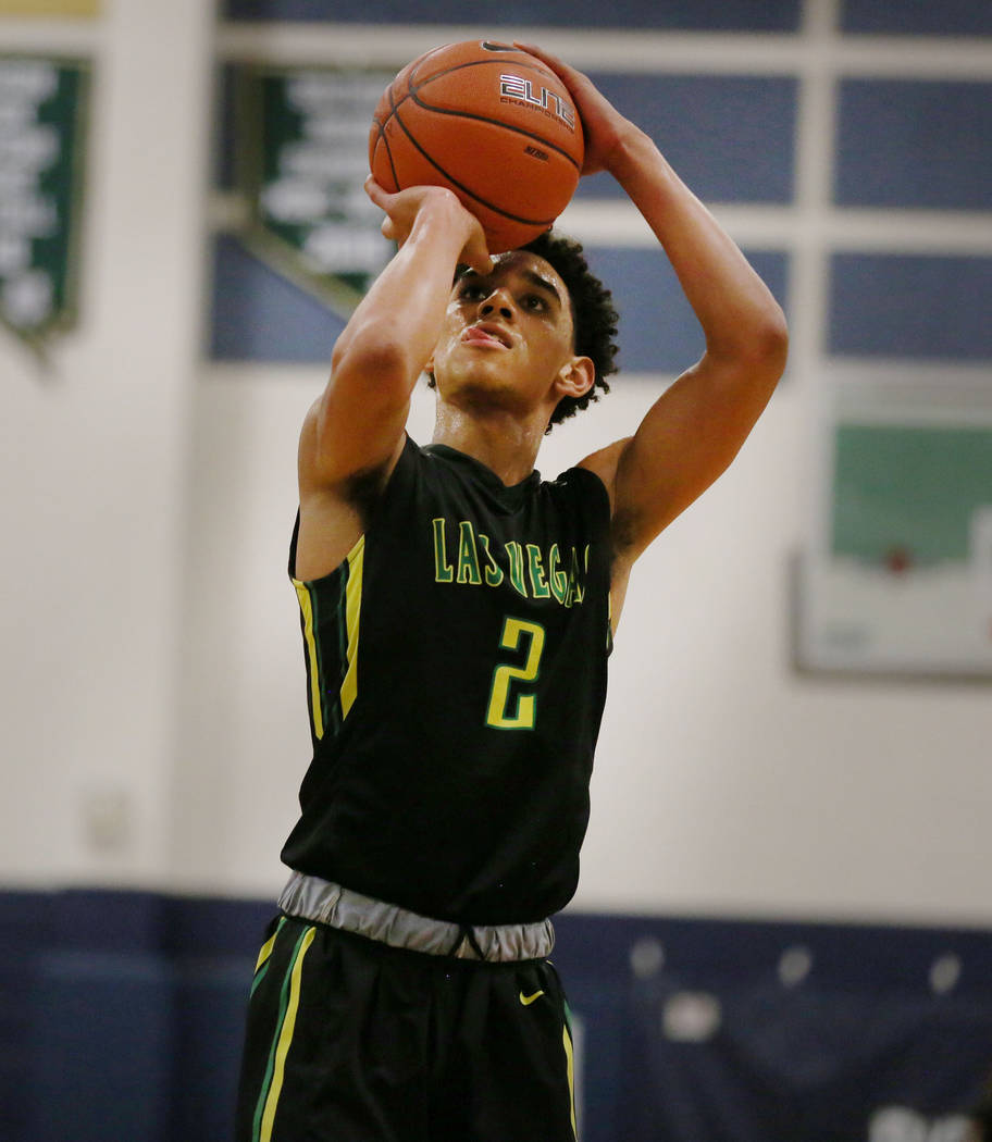 Las Vegas Prospects' Marvin Coleman II shoots the ball against California Supreme during the Platinum Elite Championship game of the Las Vegas Classic AAU tournament at Spring Valley High School i ...