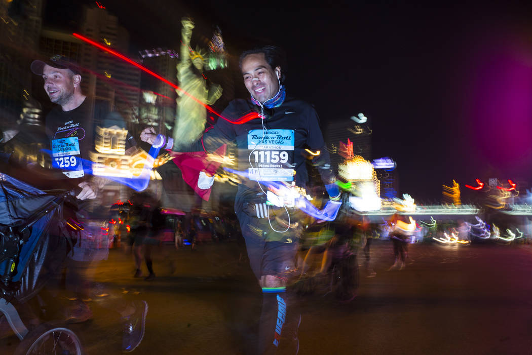 V. M. A. Quicano of Lima, Peru competes in the Rock 'n' Roll Marathon in Las Vegas on Sunday, Nov. 12, 2017. Chase Stevens Las Vegas Review-Journal @csstevensphoto