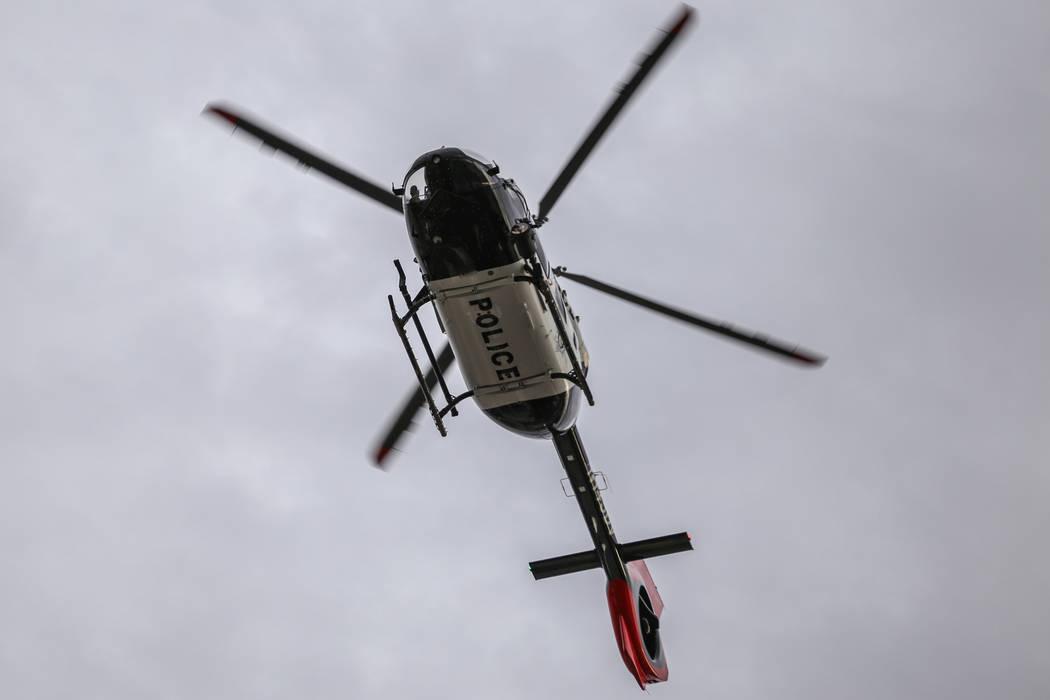 A police chopper flies above the Rock 'n' Roll Las Vegas Marathon course along the Strip near The Mirage in Las Vegas, Sunday, Nov. 12, 2017. Joel Angel Juarez Las Vegas Review-Journal @jajuarezphoto