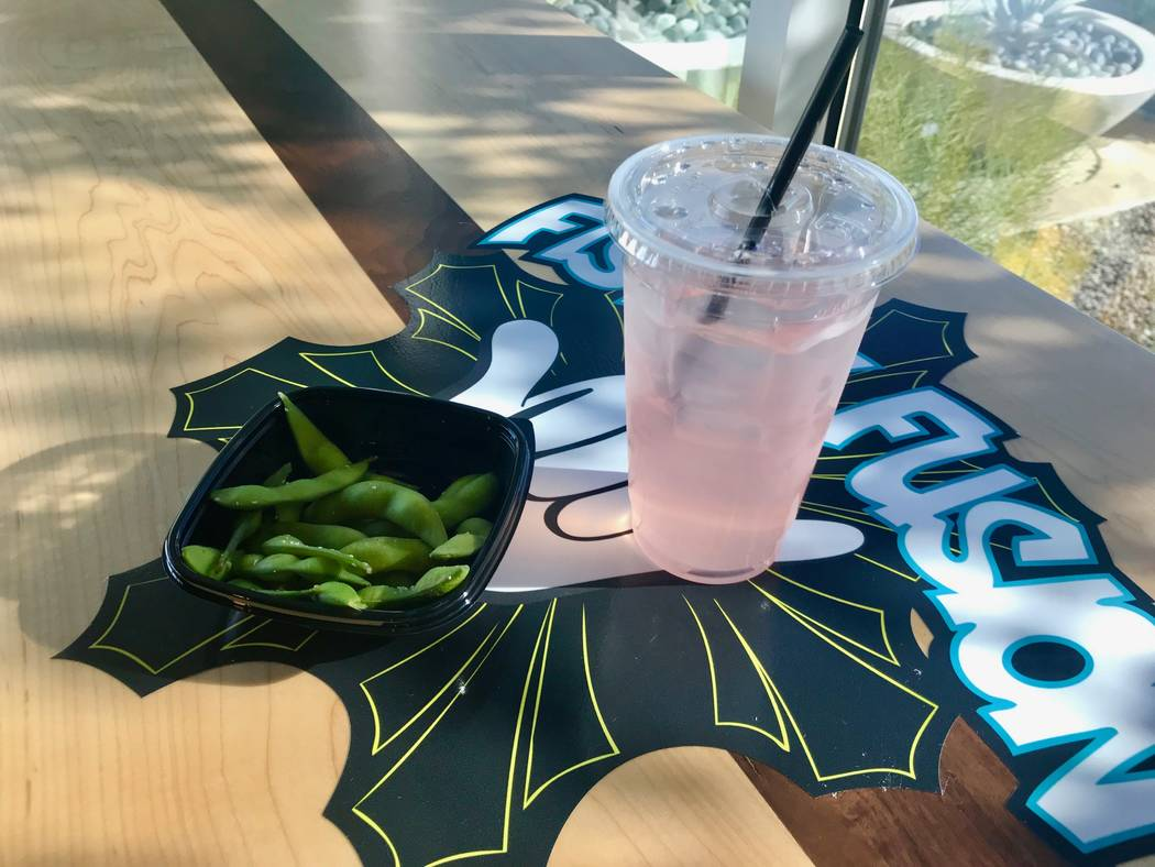 Edamame appetizer ($5) with POG drink ($2.79). (Madelyn Reese/View) @MadelynGReese
