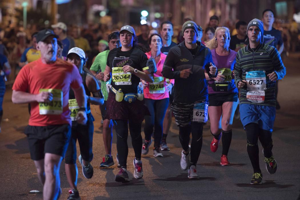 Participants head north on the Strip during the Rock 'n' Roll Las Vegas Marathon. (Sam Morris Las Vegas News Bureau)News Bureau