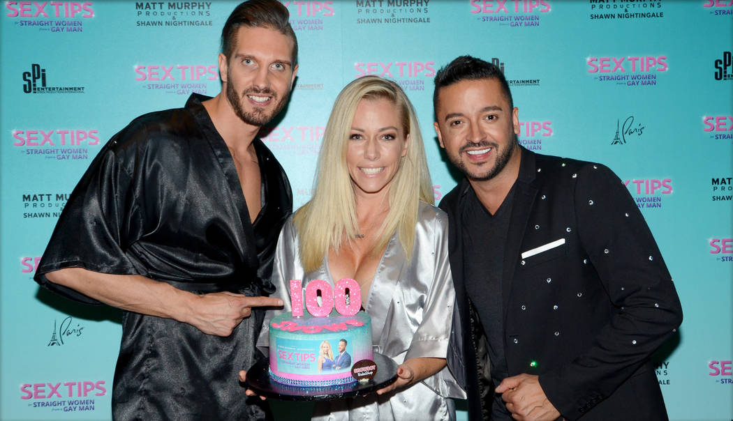 "Kendra Wilkinson and her co-star Jai Rodriguez celebrate the 100th performance of their unique comedy show ""Sex Tips for Straight Women from a Gay Man"" at Paris Las Vegas."