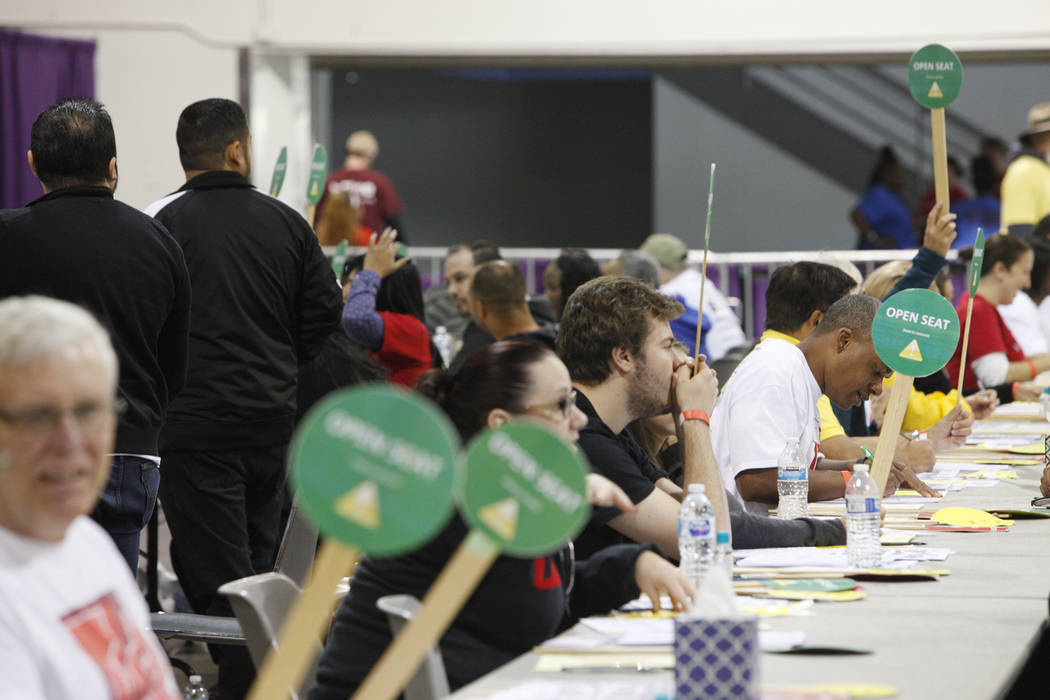 Volunteers wait for attendess at Project Homeless Connect, a service and resource fair for people who are homeless or at-risk at Cashman Center in Las Vegas, Tuesday, Nov. 14, 2017. Rachel Aston L ...