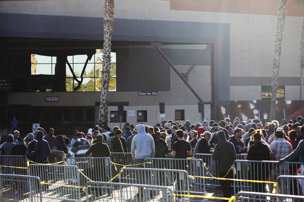 People wait in line for Project Homeless Connect, a service and resource fair for people who are homeless or at-risk at Cashman Center in Las Vegas, Tuesday, Nov. 14, 2017. Rachel Aston Las Vegas  ...