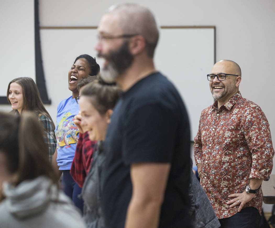 "Director Christopher Edwards, right, leads rehearsal of the Nevada Conservatory Theatre's ""A Christmas Carol,"" offering a contemporary twist on the original Charles Dickens' Victorian-era tale on  ..."