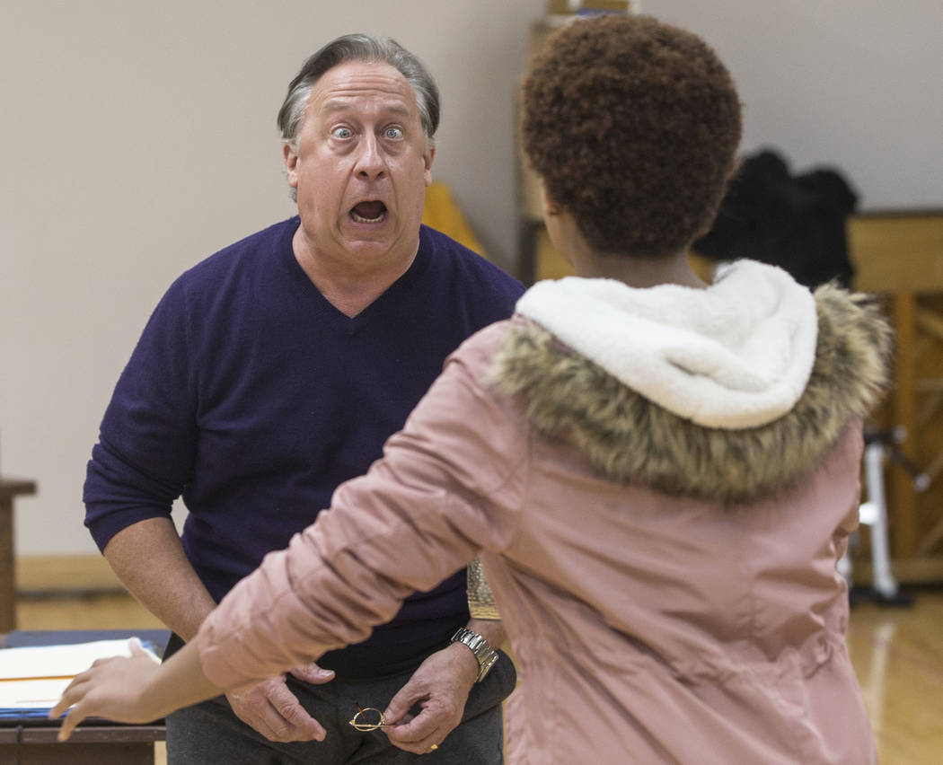 "Actor Wesley Mann plays Scrooge during rehearsal for the Nevada Conservatory Theatre's ""A Christmas Carol,"" offering a contemporary twist on the original Charles Dickens' Victorian-era tale on Tue ..."