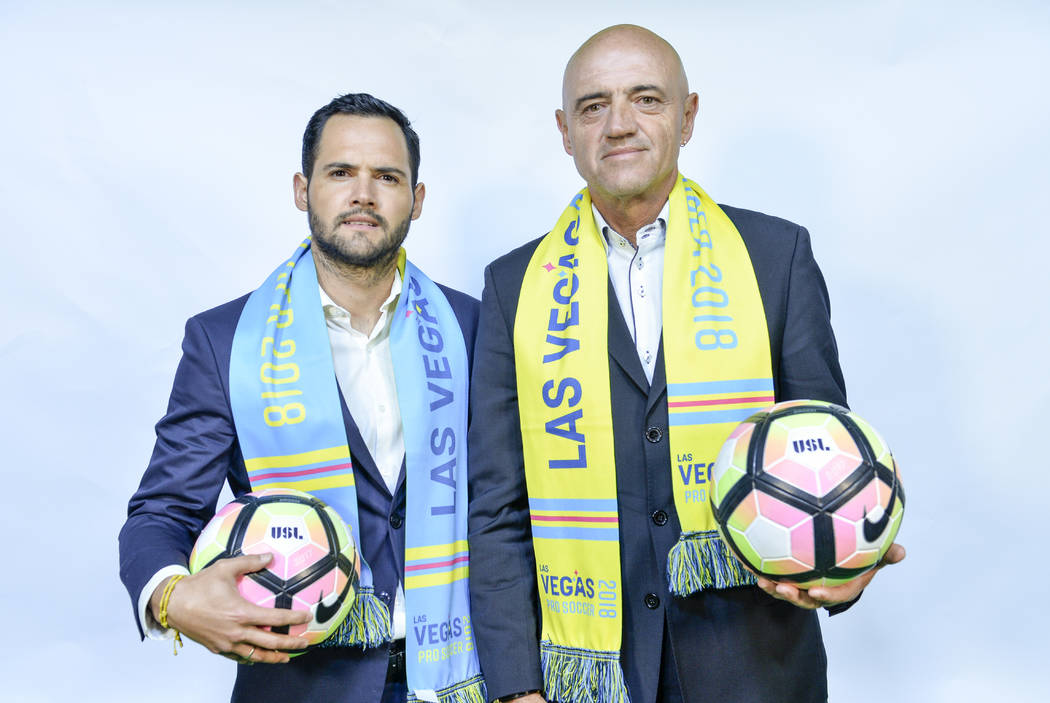 Las Vegas Lights FC coach José Luis Sánchez Solá (right) and son Isidro Sánchez (left), who will work on his staff. (Idris Erba/Las Vegas Lights FC)