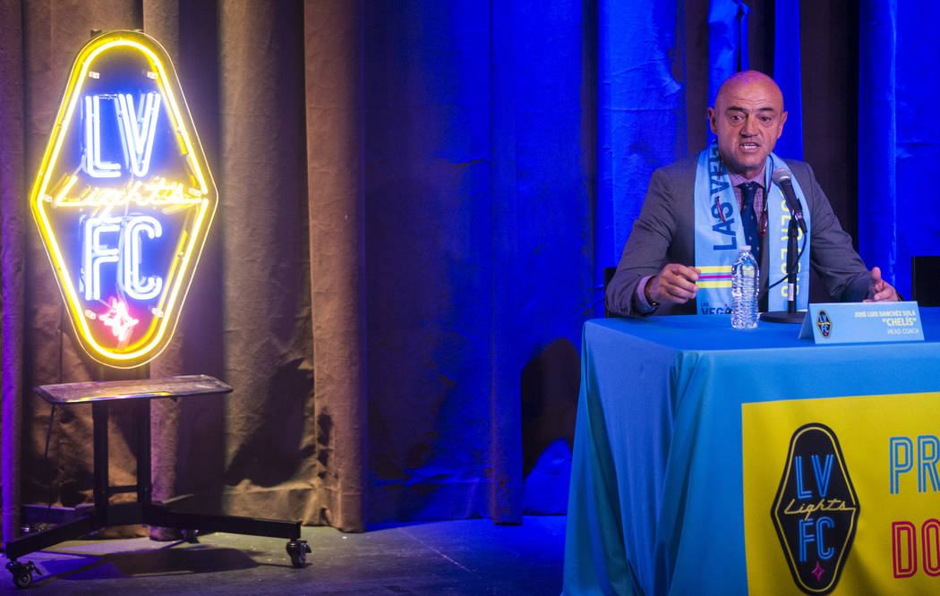 Jose Luis Sanchez Sola, also known as as Chelis, speaks during his first press conference as coach of the Las Vegas Lights FC at Inspire Theater in downtown Las Vegas on Tuesday, Nov. 14, 2017. Th ...